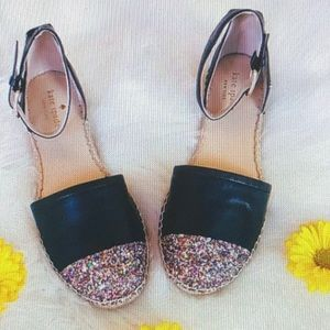 ♠️ KATE ♠️ LEATHER ESPADRILLES GOLD TOE SHOES -7.5
